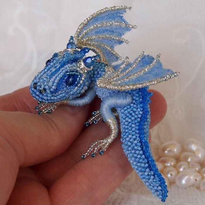 Alyona-Lytvin dragon brooch frost