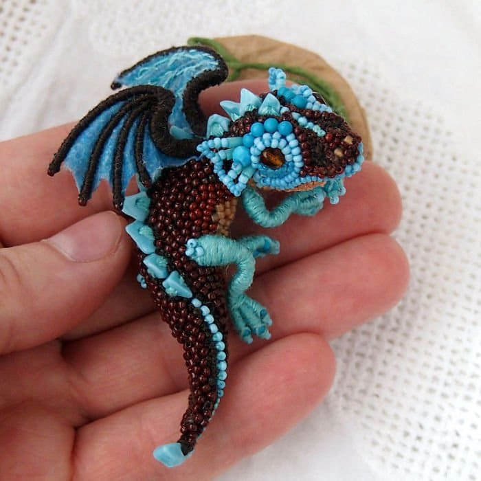 Alyona-Lytvin dragon brooch little birds