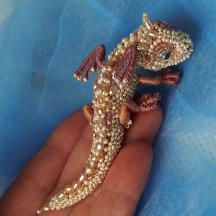 Alyona-Lytvin dragon brooch pearl