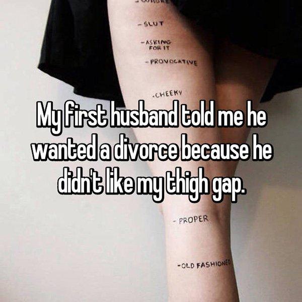 Shocking Divorce Reasons thigh gap