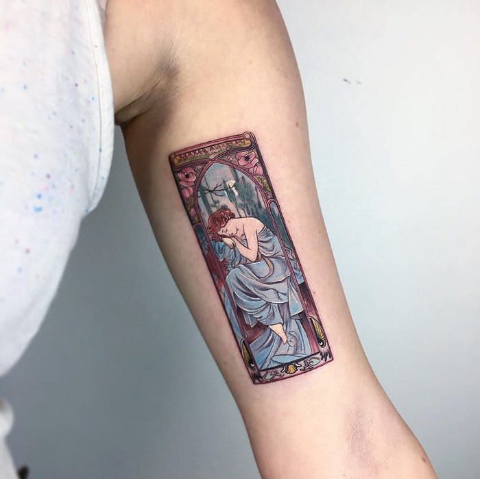 The Times Of The Day Alfons Mucha tattoo