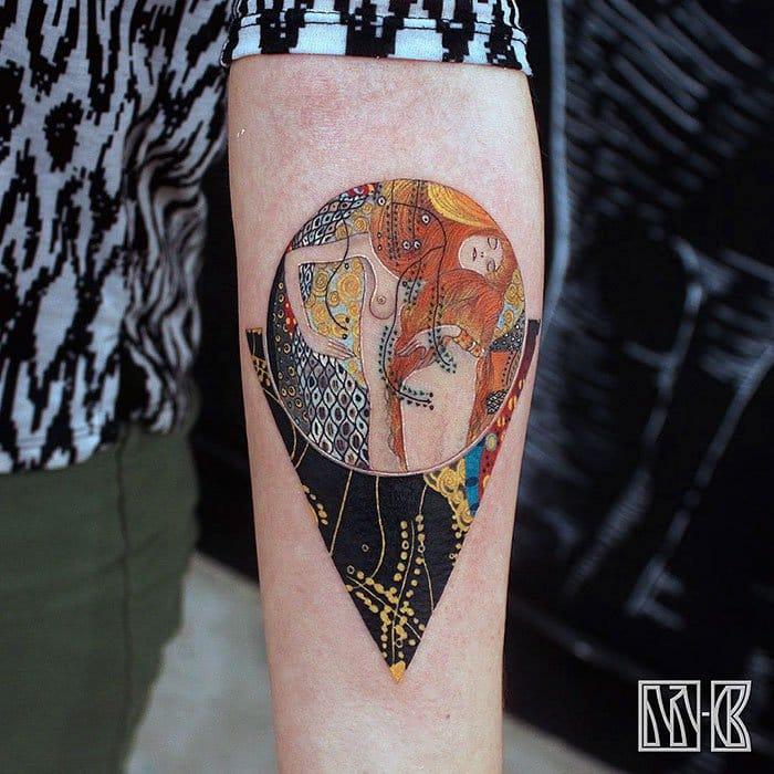 Water Serpents Gustav Klimt tattoo