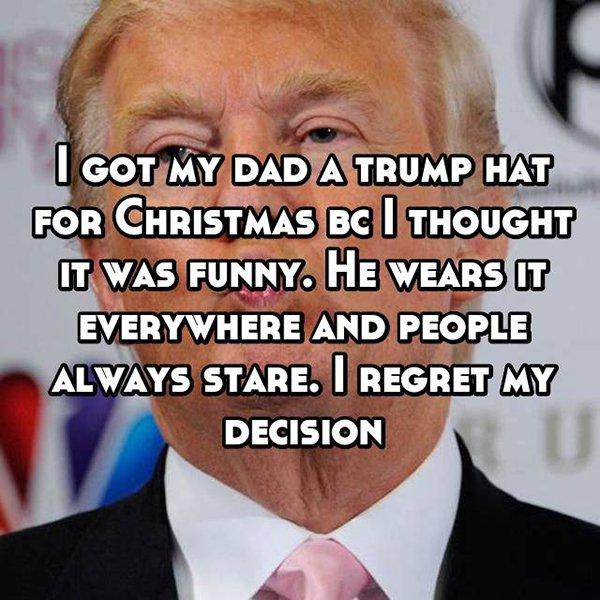 awkward christmas trump hat