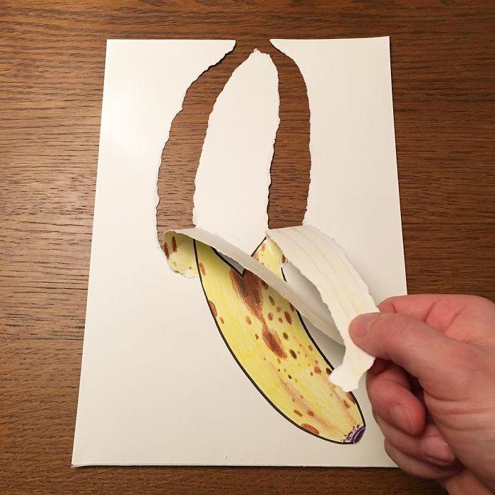 banana-peel-3d-paper-art-huskmitnavn