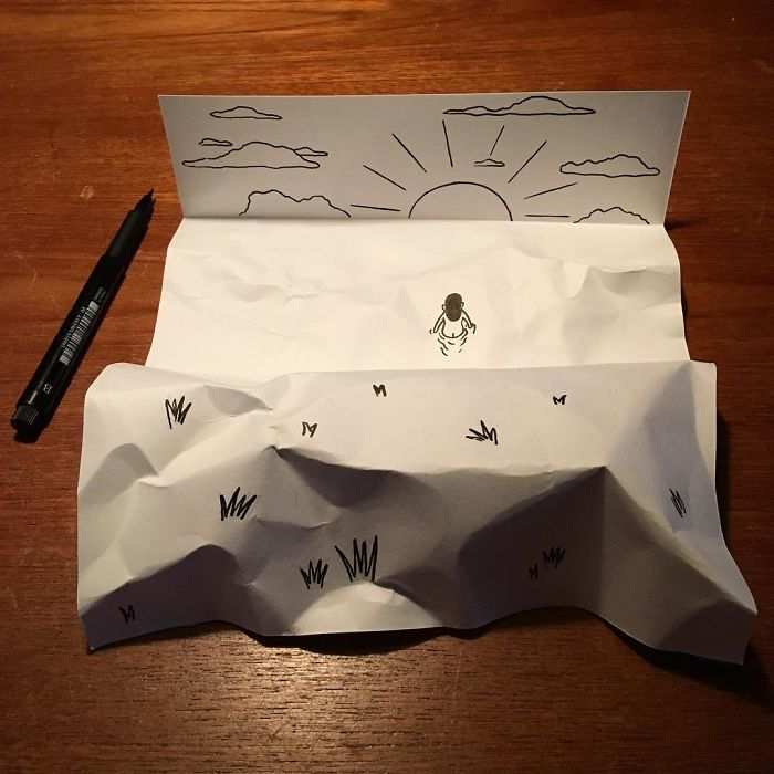 beach-scene3d-paper-art-huskmitnavn