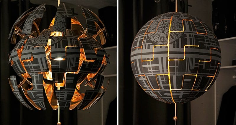 see how a creative couple transformed an ikea lamp into a death star. Black Bedroom Furniture Sets. Home Design Ideas