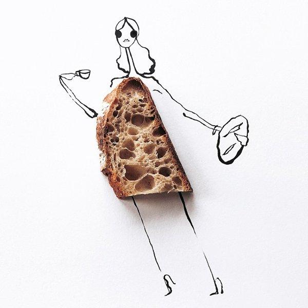 fashion sketches food bread