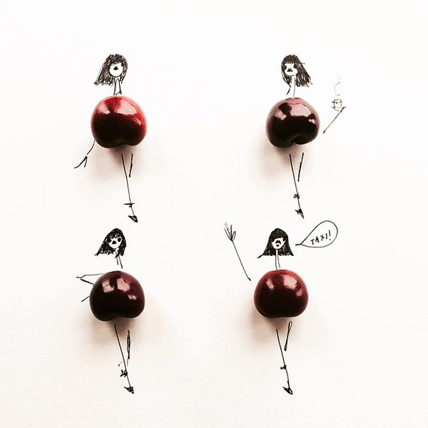 fashion sketches food cherry