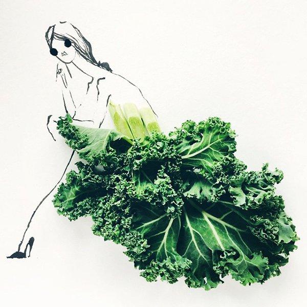 fashion sketches food kale