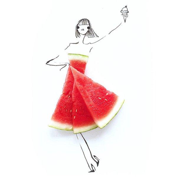 fashion sketches food watermelon