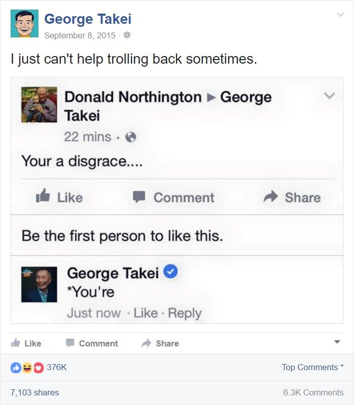 funny-george-takei-comebacks grammar correct