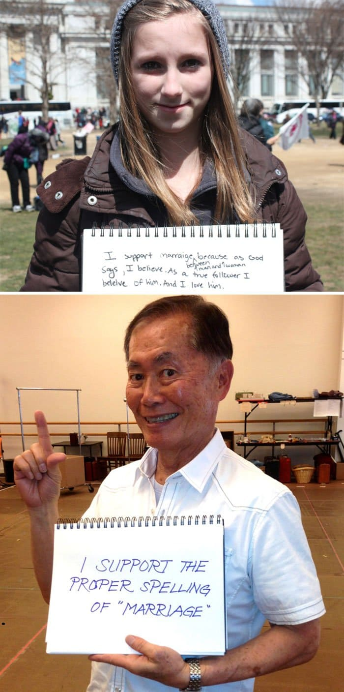 funny-george-takei-comebacks proper spelling of marriage