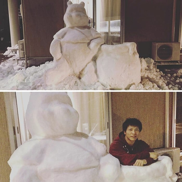japan snow sculpture pooh bear