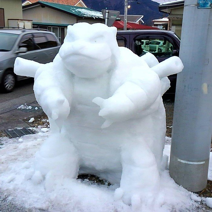 japan snow sculptures blastoise