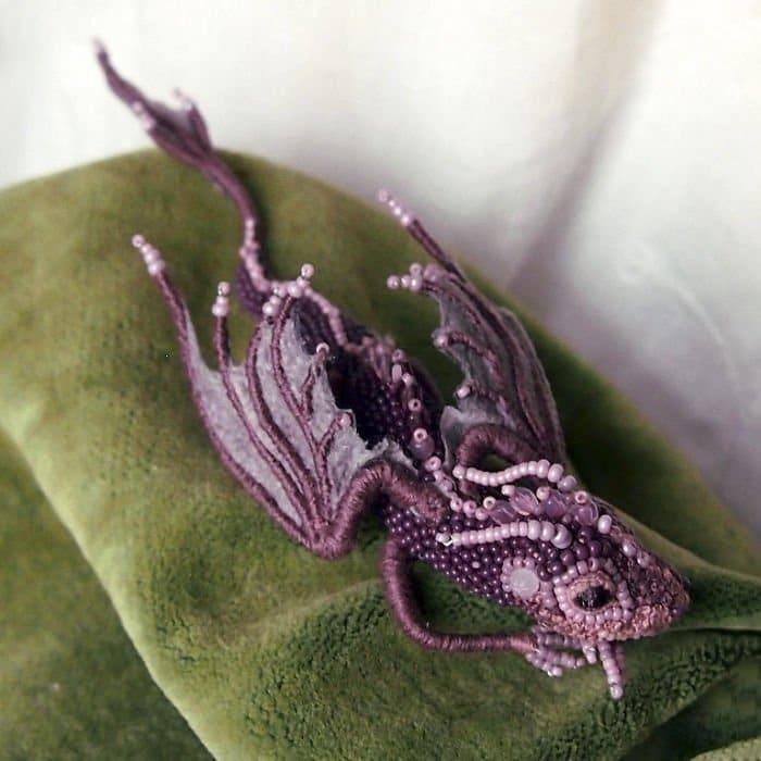 lavender Alyona-Lytvin dragon brooch