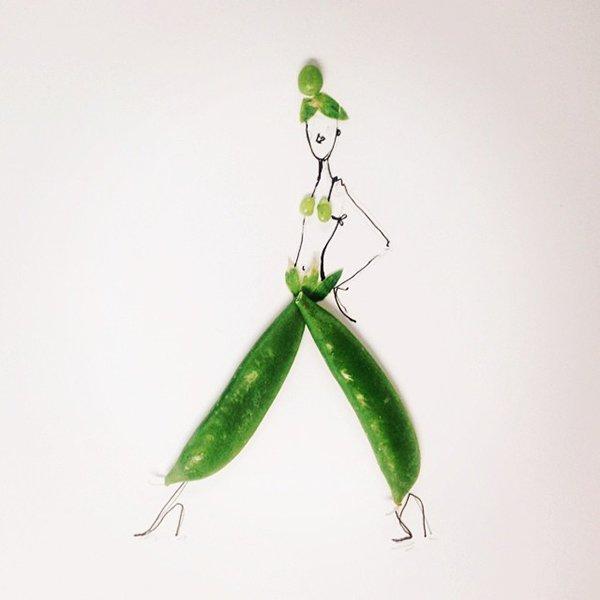 pea fashion sketches food