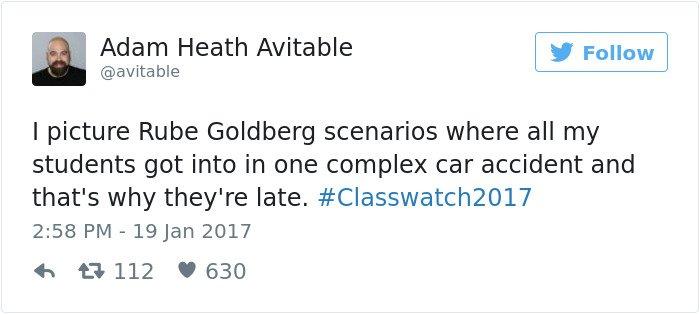 professor tweet complex car accident