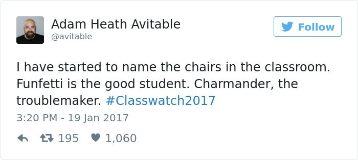 professor tweet started to name the chairs