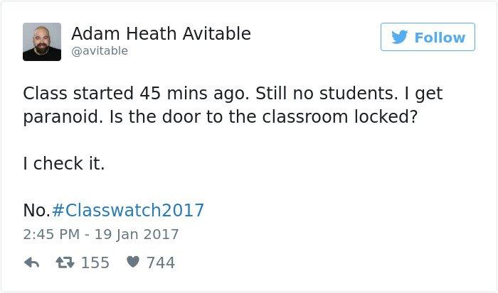 professor tweet still no students