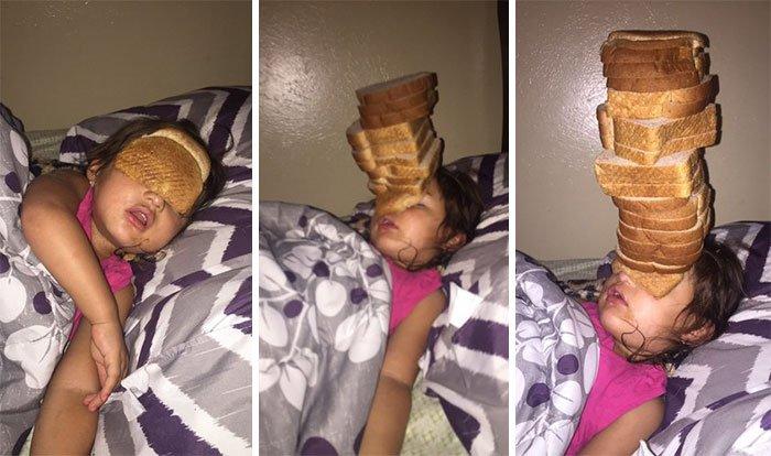 sibling pranks bread stack on head