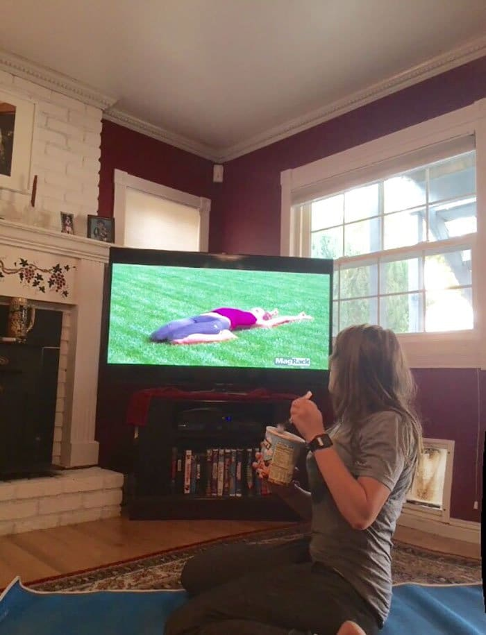 sibling pranks ice cream whilst watching yoga