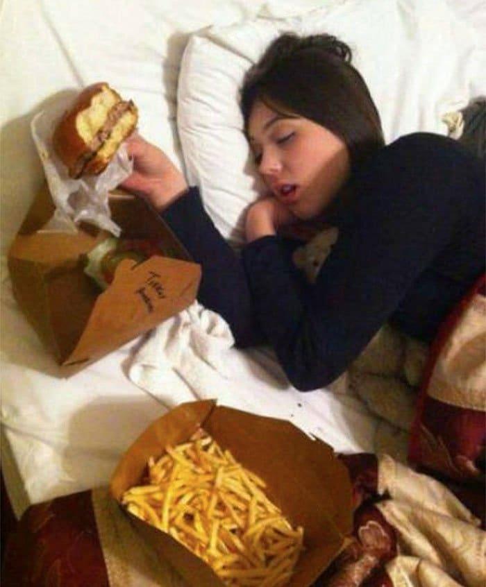 sibling pranks vegan with cheeseburger