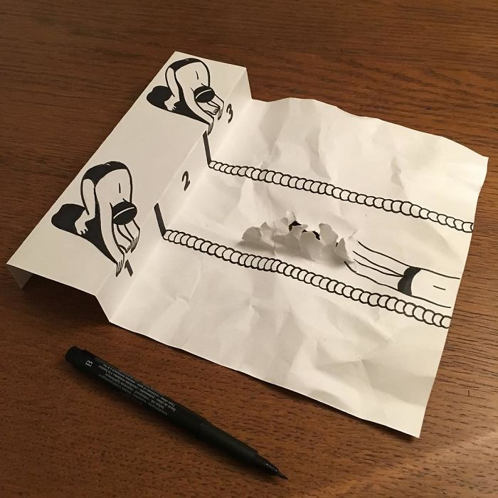 swimming-3d-paper-art-huskmitnavn