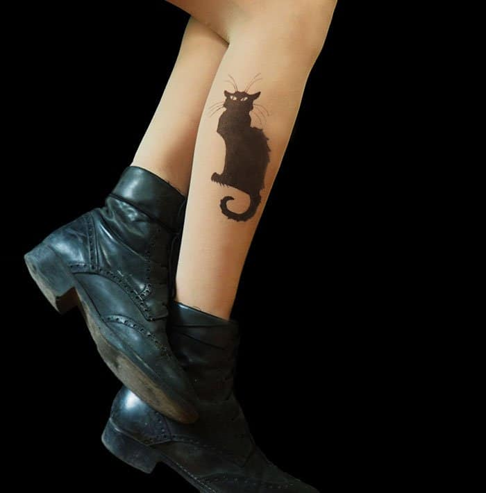 tattoo-tights chat noir cat