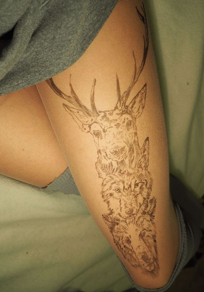 tattoo-tights deer wolf bear