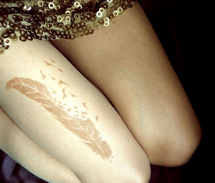 tattoo-tights metallic feather