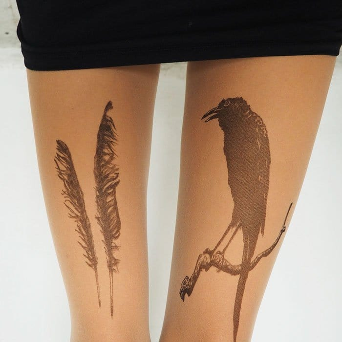 tattoo-tights raven feathers