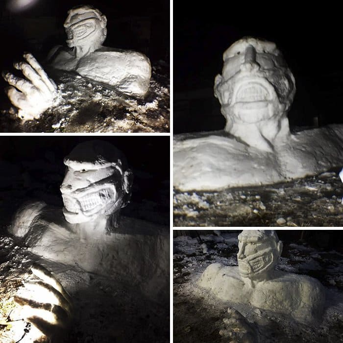 the titan of collosus japan snow sculpture