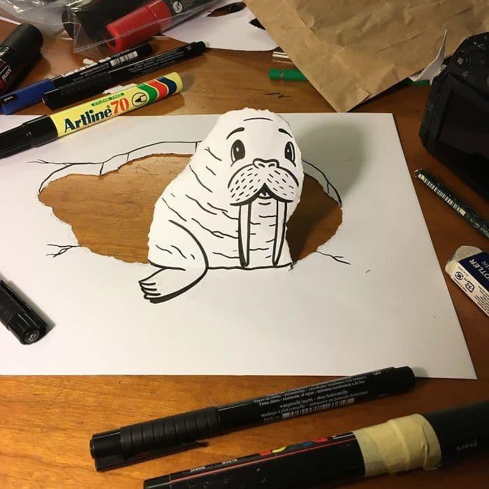 walrus-3d-paper-art-huskmitnavn