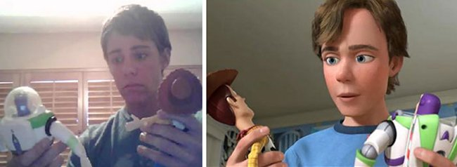 Cartoon Characters Alongside Their Real Life Dopplegangers