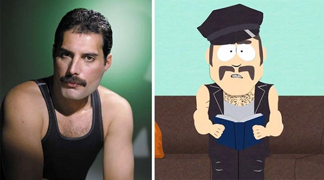 Real Life Cartoon Characters freddie mercury south park