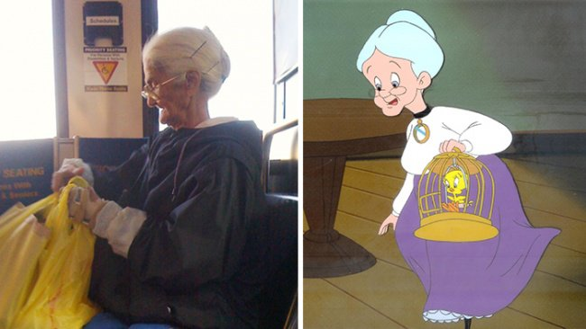 Real Life Cartoon Characters old lady looney tunes