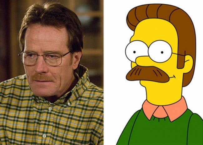 Real Life Cartoon Characters walter white ned flanders