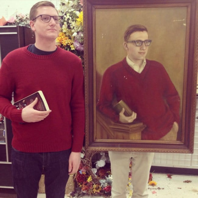 Shots Taken Perfect Moment guy found a painting of himself