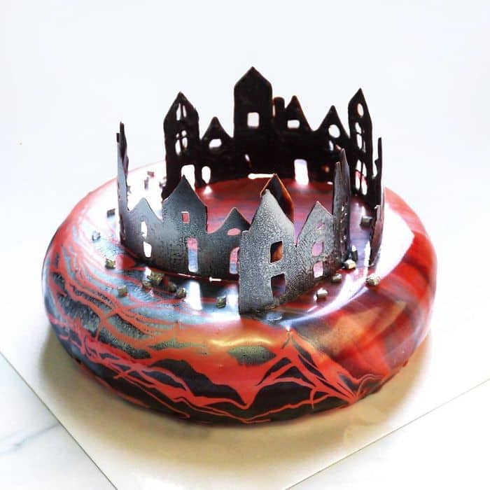 chocolate worlds mirror glaze cakes buildings