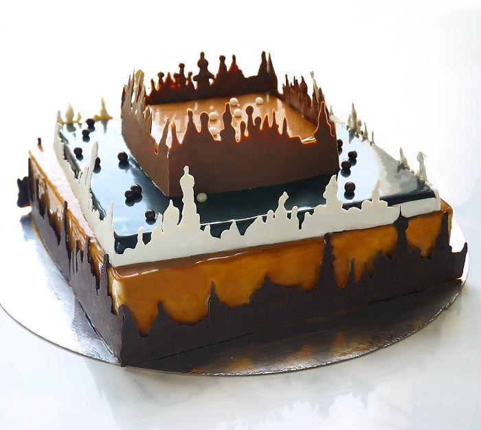 chocolate worlds mirror glaze cakes scenery