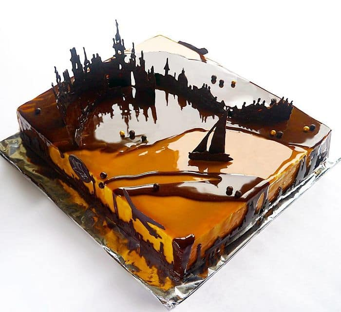chocolate worlds mirror glaze cakes