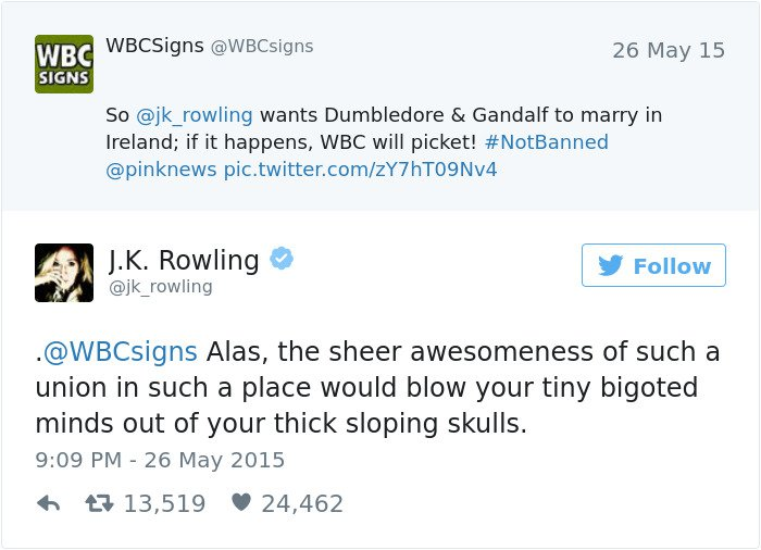 funny-jk-rowling-twitter-comebacks dumbledore marriag