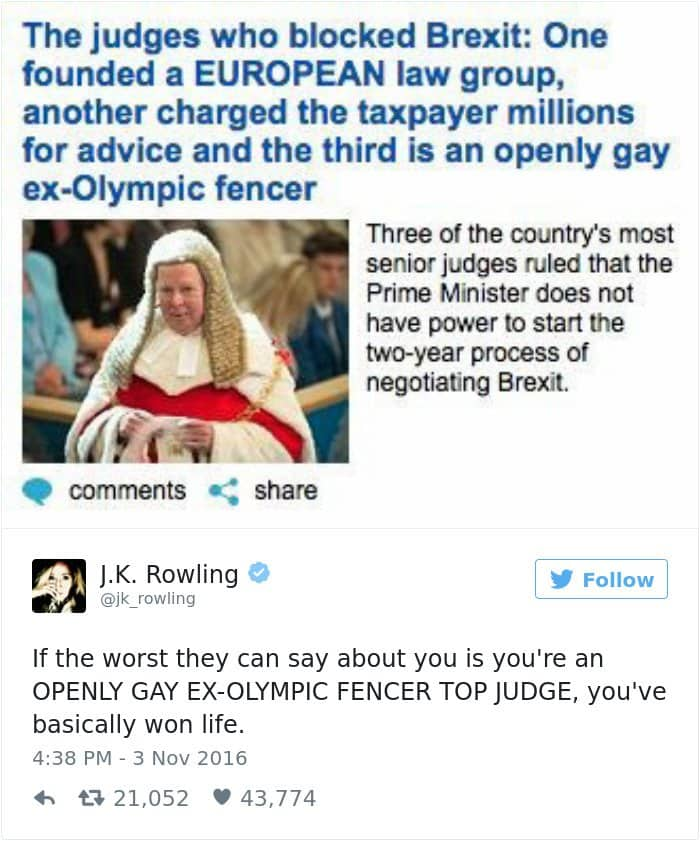 funny-jk-rowling-twitter-comebacks gay olympic fencer
