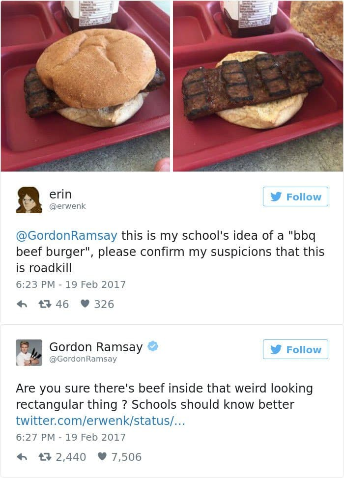 Hilarious twitter replies from gordon ramsay slaying peoples food school dinner bbq beef burger forumfinder Images