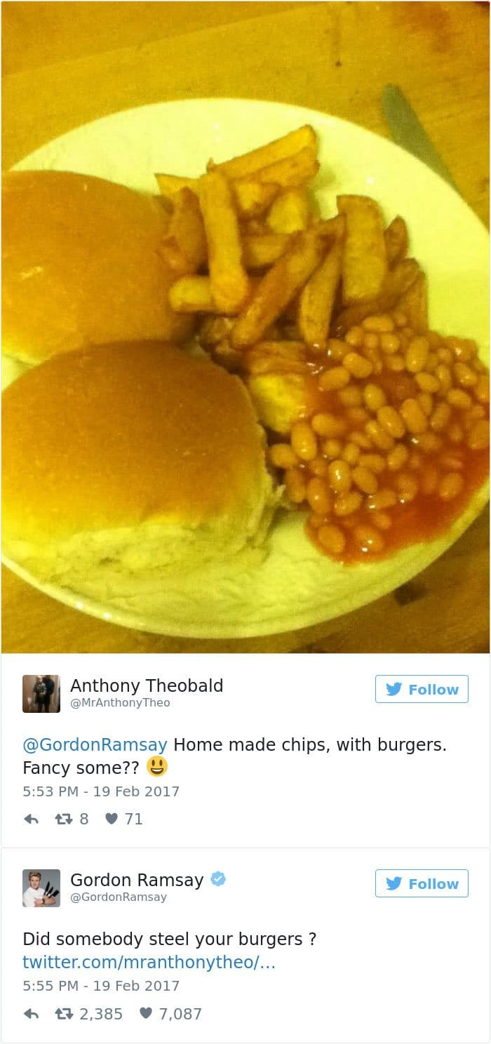 burgers chips and beans