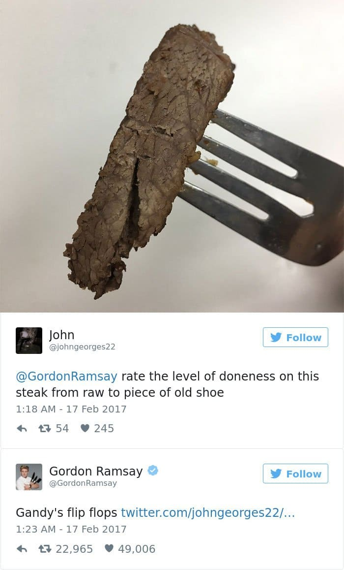 piece of over done steak on a fork