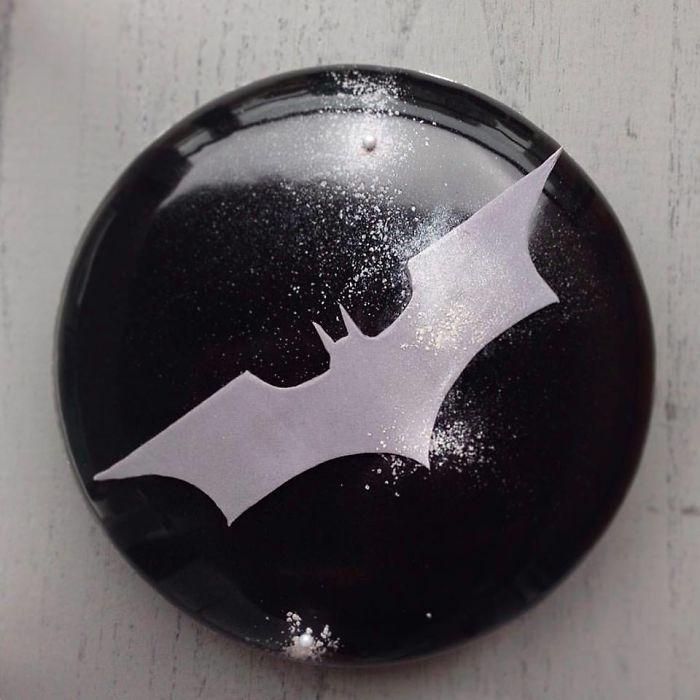 mirror marble mousses batman cake