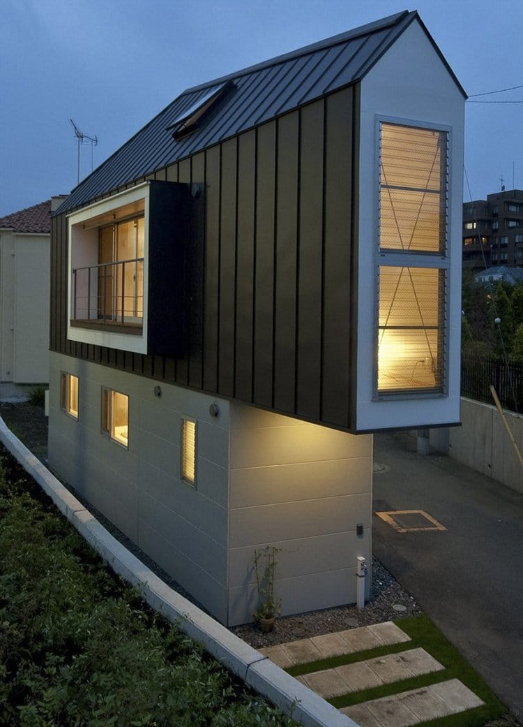 narrow house japan evening view