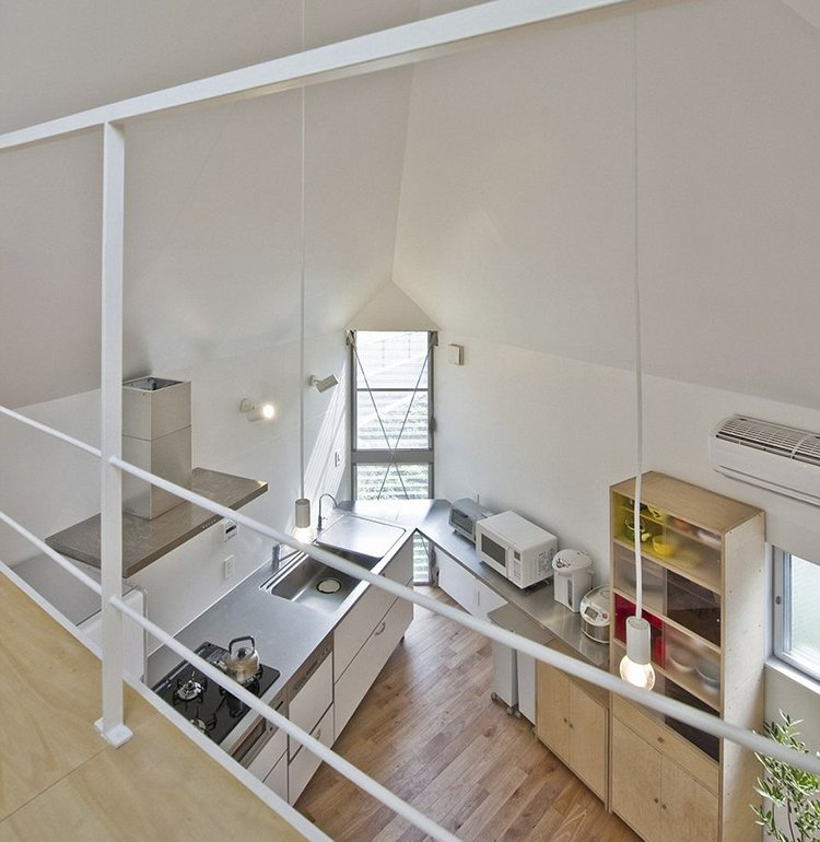 narrow house japan looking down interior