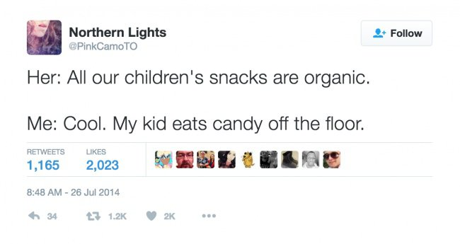 parenting tweets eats cant off the floor